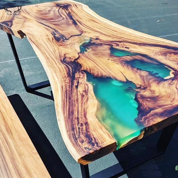 Table à manger Unique en bois massif cristal résine époxy table à manger rivière bord vivant table