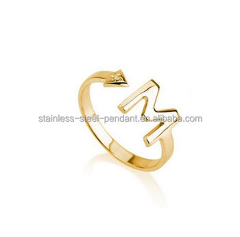 Custom stainless steel alphabet letter M finger ring design for women