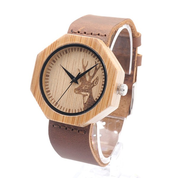 Octagonal Wooden Case Leather Strap Watches Creative Birthday Gift