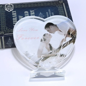 Shaped Transparent Blank Award Crystal Heart Trophy