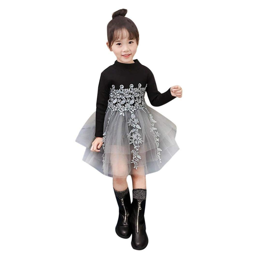49335aeb1878a Get Quotations · Sunbona Toddler Baby Girls Princess Lace Patchwork Winter  Warm Long Sleeve Dress Casual Wedding Party Dresses