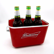 Food Grade Custom logo Rectangle shape plastic Ice cooler bucket with beer