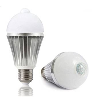 Get Quotations · Ashia Light 8W PIR Infrared Motion Sensor Detector  Activated 60w Equivalent LED Light Bulbs Daylight