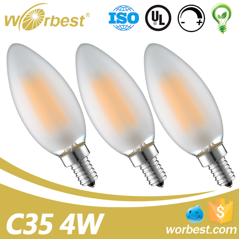 China Supplier Lighting UL approved AC120V Dimmable E12 base Vintage Edison C35 6W LED Filament Candle shape frosted bulb