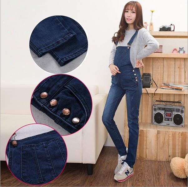 New Pregnant Women Jumpsuits Long Jeans Comfortable Maternity Adjustable Belly Slim pencil Pants Elastic Waist Jeans