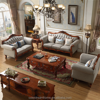 Luxury Hand Carved Genuine Leather Sofa Set 3 2 1 For Living Room