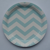 Party Tribes Hot Sale Free Sample/Light Blue Ripple Stripe Paper Plates