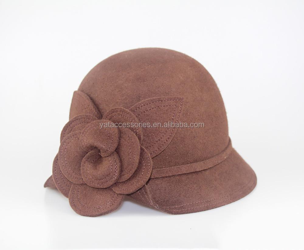 88757c12 Women Brown Color Cloche Hat,Handmade Wool Felt Hat,Party Hat With Felt  Flower Decoration - Buy Wool Hat With Flower Women,Felt Cloche Hat Pattern, Womens ...