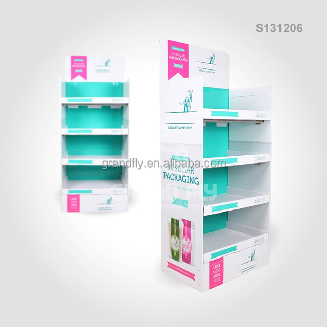 POS Floor Cardboard Food / Snacks Carton Display Box