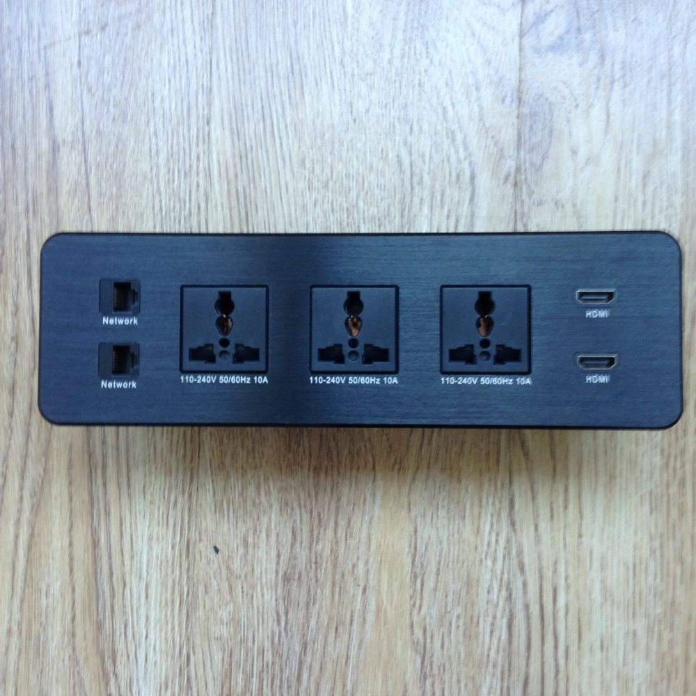Conference Table Connection Box Built In Table Socket Outlet/Aluminum Panel able Recess Power Socket