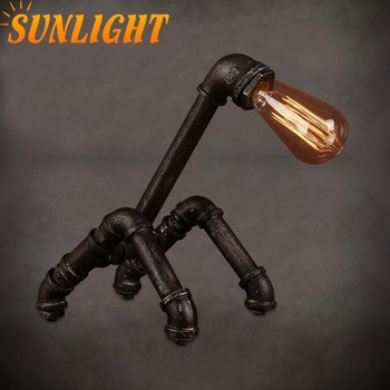 retro indoor Industrial ste&unk light metal Pipe robot table light loft vintage iron table l& & Retro Indoor Industrial Steampunk Light Metal Pipe Robot Table Light ...