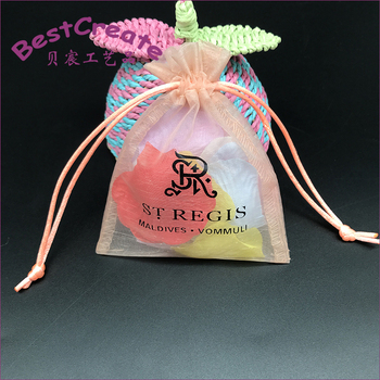 Custom printed pink overlocked organza soap drawstring pouches Bags