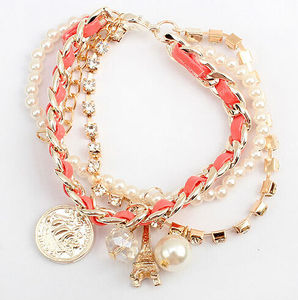 fashion leather cord wrap bow braided plastic pearls beaded handmade tower charm bracelet