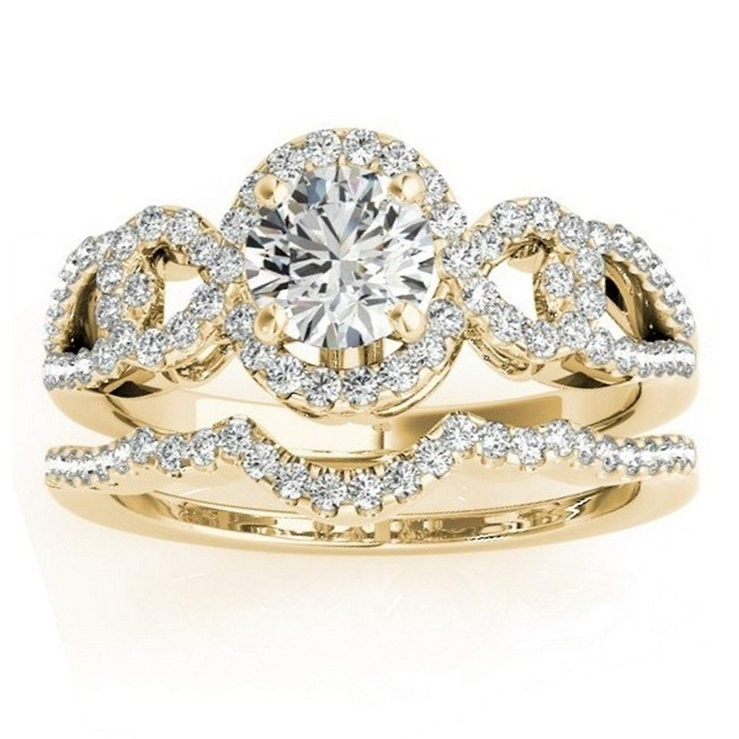 Halo Diamond Engagement Ring Setting and Contour Wedding Band Bridal Set in 14k Yellow Gold 0.50ct