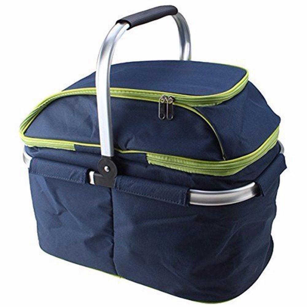 Family Size Insulated Folding Collapsible Picnic Cooler bag Basket with Sewn in Frame