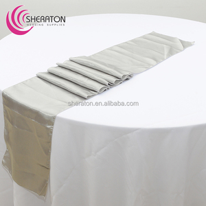 Manufacturer wedding supplies silk damask satin cheap gray table runner for rectangle tables for hotel banquet wholesale