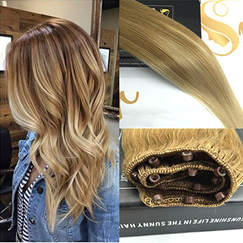 "Sunny Balayage Remy Ombre Easy Weft Hair Extensions 16"" Highlighted Blonde Micro Beads Human Hair Extensions 12"" Width 50gram"