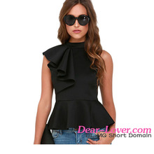 Black Asymmetric Ruffle Side Peplum Latest Top Designs for Women