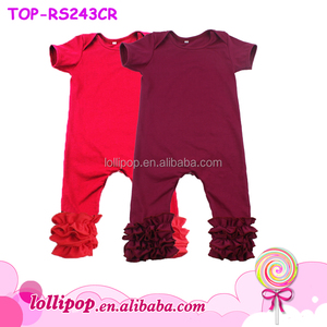 d57ff83ef4b3 Wholesale Solid Plain Baby Girl Romper Monogram Blank Maroon Baby Jumpsuit  Firm Ruffle Icing Rompers with