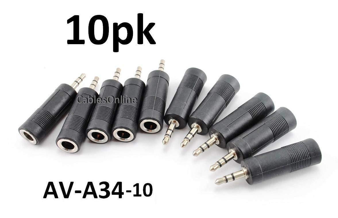 CablesOnline 10-PACK 3.5mm (1/8in) Male Plug to 6.35mm (1/4in) Female Jack Stereo Audio Adapter (AV-A34-10)