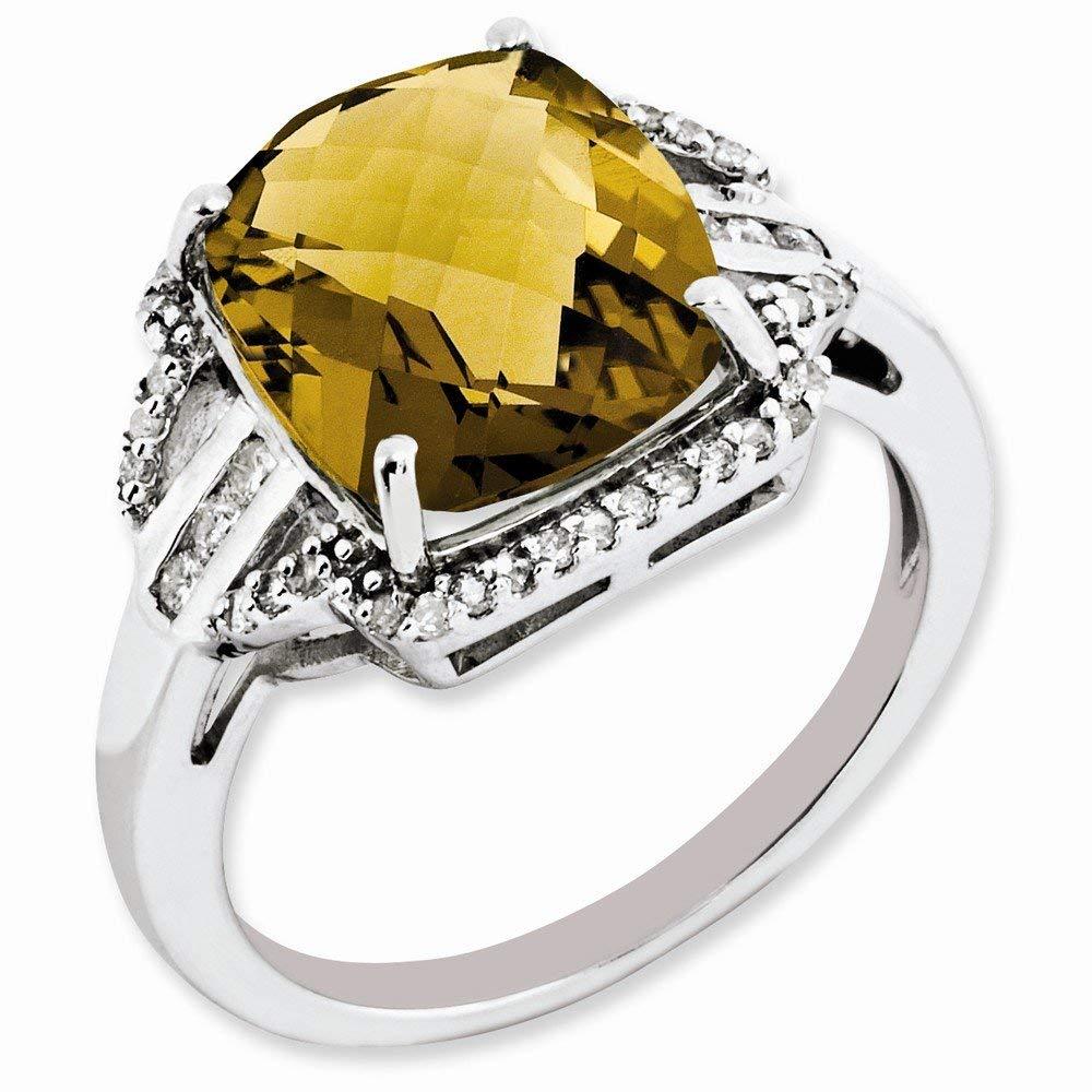 Jewelry Adviser Rings Sterling Silver Rhodium Diam /& Checker-Cut Pink Quartz Ring