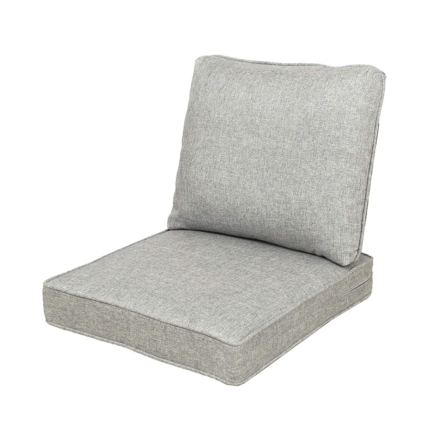 Quality Outdoor Living All Weather Deep Seating Patio Chair Seat and Back Cushion Set, 22-Inch by 25-Inch, Grey