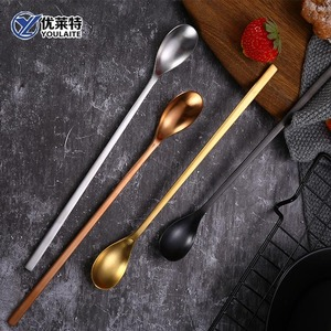 Coffee Ice Cream spoon set long handle teaspoon stainless steel silver spoon