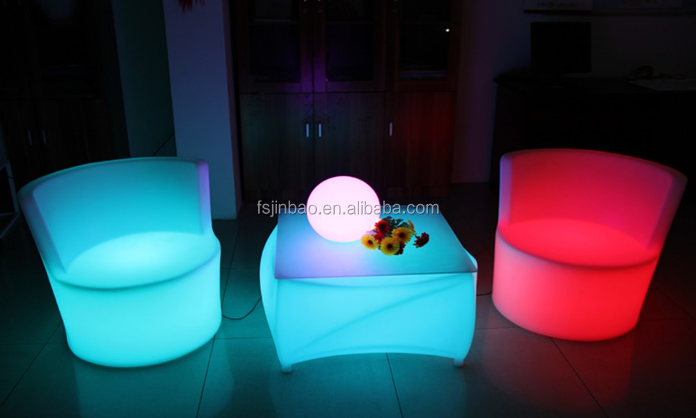 Led Home Decoration Light Sofa Plastic Up Chairs Outdoor