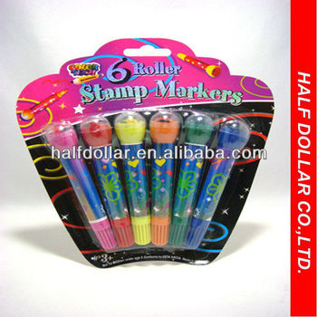 6PCS Stamp Markers Marker With A Roller Rolling Water Color