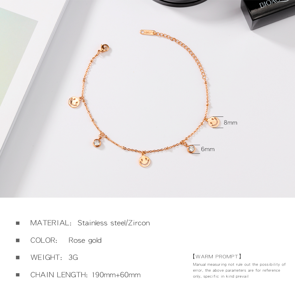 18K rose gold plated titanium steel foot chain gold smiling face anklet designs