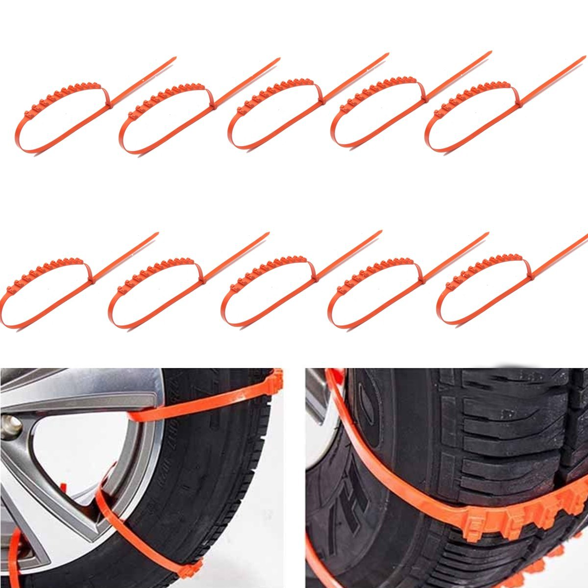 HITSAN 10PCS Car Truck Snow Ice Mud Chains Wheel Tyre Tire Anti Skid Thickened Tendon One Piece