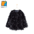 YKYY YAKUYIYI Autum Winter Solid Black Baby Faux Fur Coat Reversible Girls Warm Parkas Party KidsTop