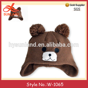 W 1065 Fall Winter Animal Earflap Hat Pattern Bear Hat Knitted