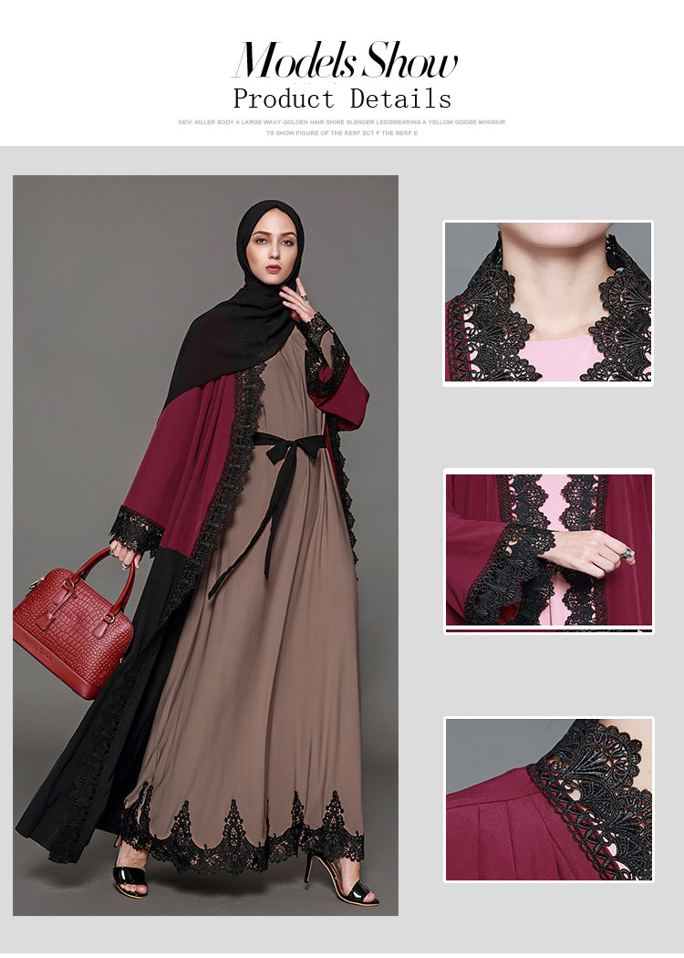 China fabriek dames dubai fashion lace front open moslim jas ontwerp abaya