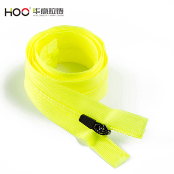 High quality YG open end with lace tape fluo yellow Nylon zipper