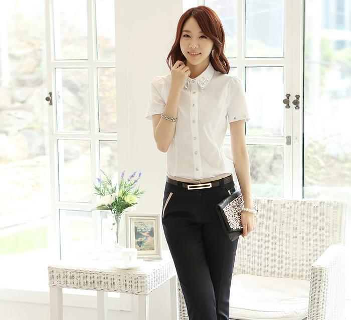 get quotations work wear women 2014 summer slim pants suit short sleeve shirt ol formal pants set