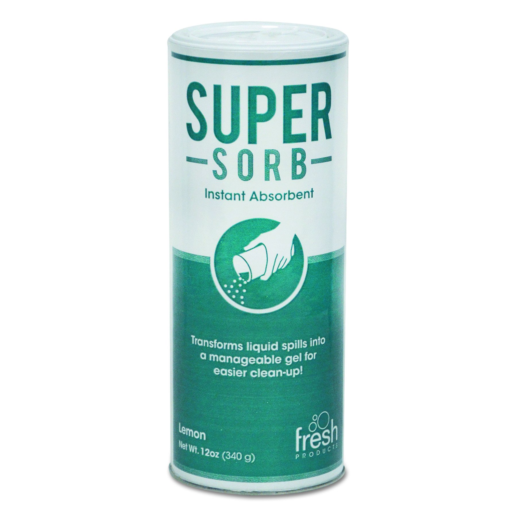 Fresh Products FRS 6-14-SS FRS614SSBX Super-Sorb Liquid Spill Absorbent, Powder, 12 oz. Shaker Can, Lemon-Scented (Pack of 6)