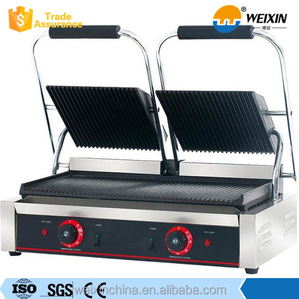 Single and Double Plates Electric Barbegue Contact Grill with Lava Rock