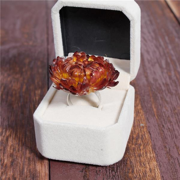 Handmade Resin Jewelry Real Adjustable Rings Silver Tone Wine Red Chrysanthemum Flower New Fashion Ring