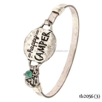 Hy Camper Tipi Charm Wire Bangle Bracelet