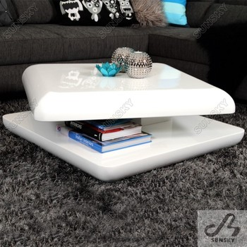 Living Room Furniture Modern White High Gloss Rotating Coffee Table 4248