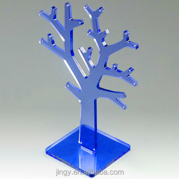 Blue Acrylic Decorative Jewelry Tree Necklace Holder