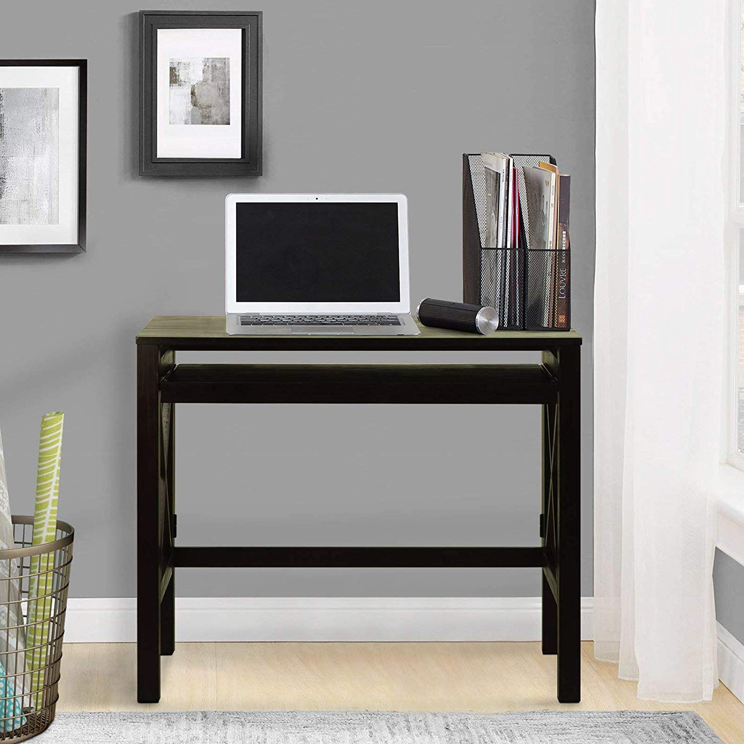 Folding Desk Pull-Out-Espresso Finish, Made from Wood, X-Design, Workspace, Solid Wood Construction, Home, Office Furniture, Bundle Our Expert Guide Tips Home Arrangement