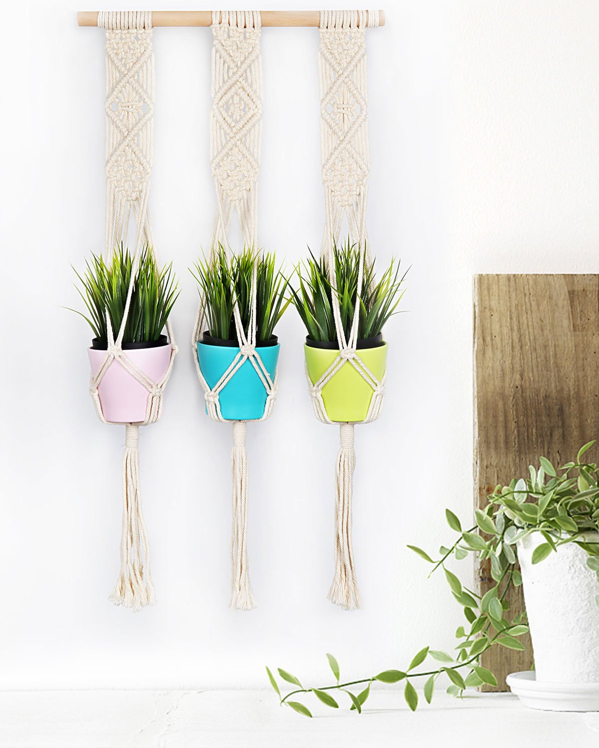 Get Quotations · Macrame Plant Hanger, Seavish Trible Outdoor Indoor Cotton  Cord Flower Pot Holder Boho Wall Hanging