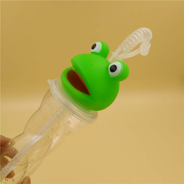 Clear soft rubber frog screw lid plastic beverage cartoon cup