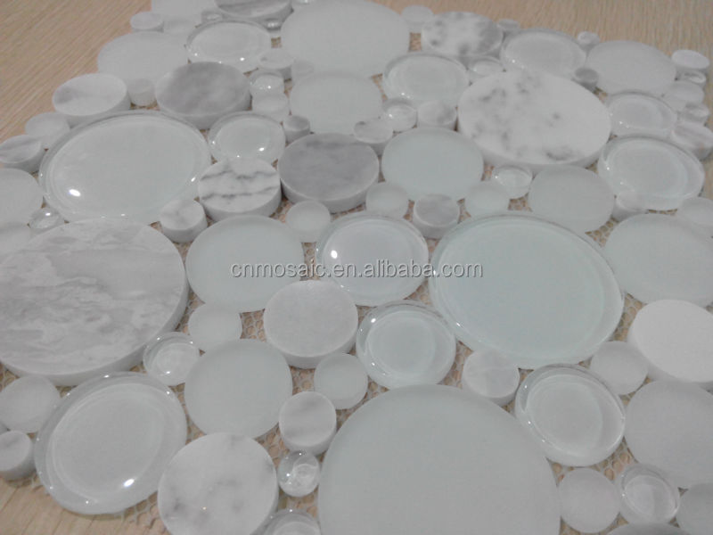 White glass mix carrara white marble pool mosaic tile