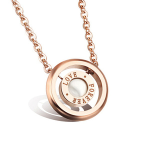 Stainless Steel Lady Rose Gold Plated Necklace Jewelry Natural Pearl Forever Love Eternity Ring Pendant Necklace
