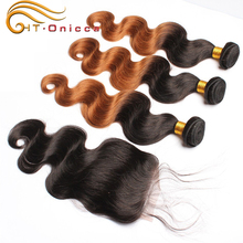 Clear wire style hair piece 100% italy kertain human hair extension ombre color