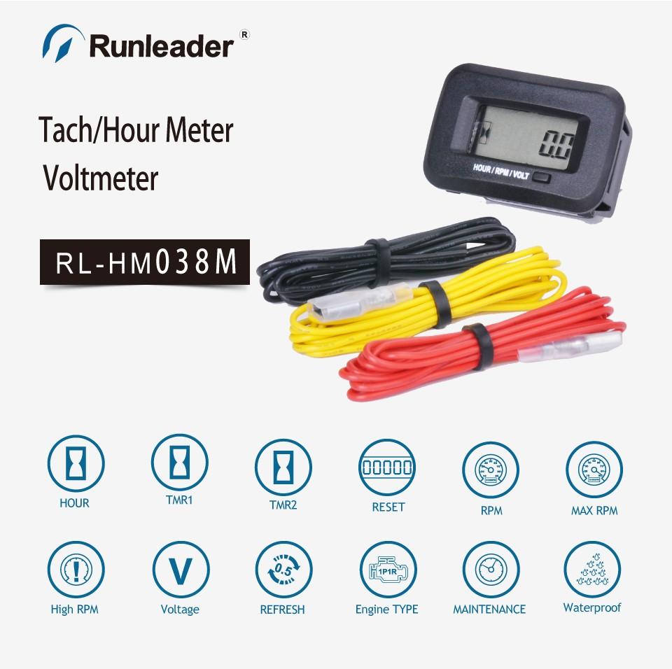 Runleader Digital Rpm Meter Engine Hour Meter Voltmeter Running Hour Meter  For Atv Chainsaw Tractor Excavator - Buy Engine Running Hour,Engine Running