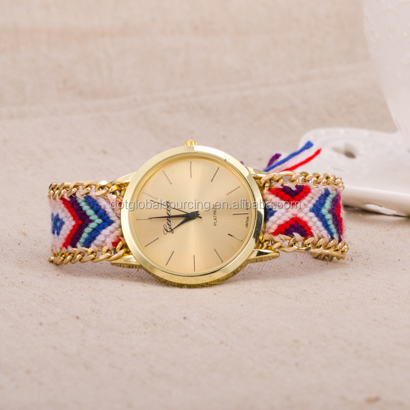 Good Quality Bracelet Gift Lady Promotional Woman Hand-Woven Rope Weave Lady Wrist Beautiful Watches